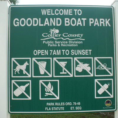 Goodland Boating Park Sign Goodland Florida
